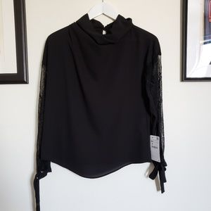 New Zara black long sleeve blouse xs